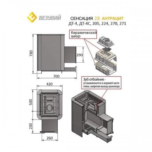Печь Везувий Сенсация 28 Антрацит (ДТ-4C)